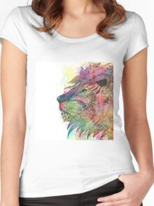Awesome tribal watercolor lion design Women's Fitted Scoop T-Shirt