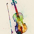 Violin Abstract Watercolor by Michael Tompsett