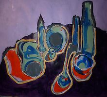 Still Life-Bottles, Jars and Glasses by Josh Bowe