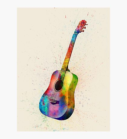 Acoustic Guitar Abstract Watercolor Photographic Print