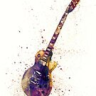 Electric Guitar Abstract Watercolor by Michael Tompsett
