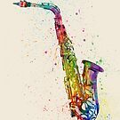 Saxophone Abstract Watercolor by Michael Tompsett