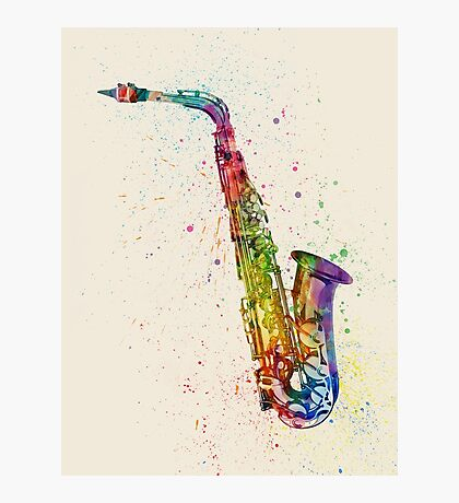 Saxophone Abstract Watercolor Photographic Print