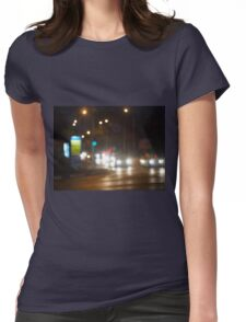 Defocused lights on the stream of cars and traffic lights Womens Fitted T-Shirt