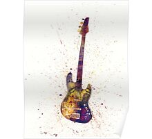 Electric Bass Guitar Abstract Watercolor Poster