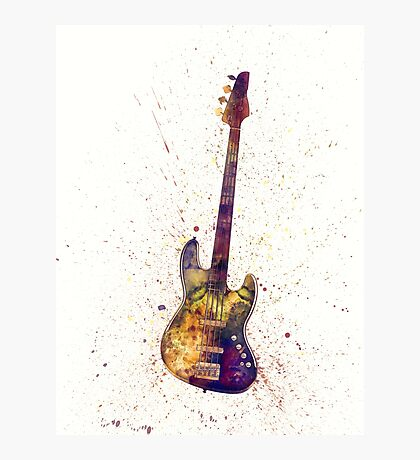 Electric Bass Guitar Abstract Watercolor Photographic Print