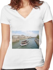 Paris excursion boat, France Women's Fitted V-Neck T-Shirt
