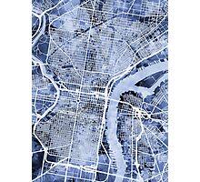 Philadelphia Pennsylvania City Street Map Photographic Print