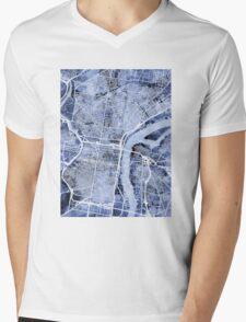 Philadelphia Pennsylvania City Street Map Mens V-Neck T-Shirt
