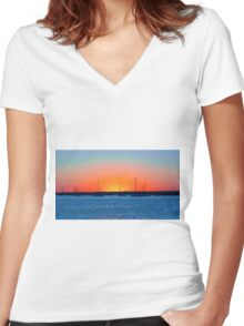 Prismatic Sunset Women's Fitted V-Neck T-Shirt