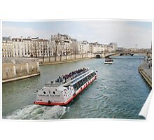 River Seine excursion boat, Paris Poster