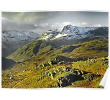 The Langdales from Loughrigg Fell, Cumbria Poster