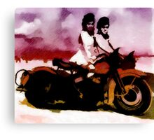 A Girl, a Bike and Her Shadow Canvas Print