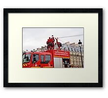 Paris firefighters training Framed Print