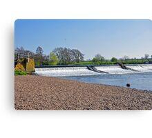 Weir on the River Dove near Tutbury Canvas Print