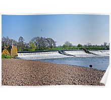 Weir on the River Dove near Tutbury Poster