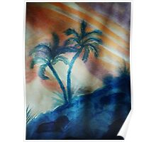 Palm Trees in the shadows of a falling sun( lighter version), watercolor Poster