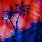 Palm Trees in the shadows of a falling sun, (darker version) watercolor by Anna  Lewis