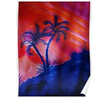 Palm Trees in the shadows of a falling sun, (darker version) watercolor Poster
