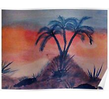 Palms on a hill at sunset,(lighter version) Series #2, watercolor Poster