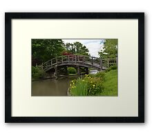 Yellow Irises by the bridge Framed Print