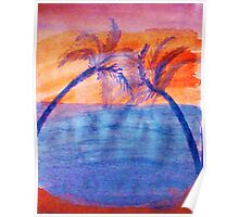 Palm tree Series #3 (lighter version), Over the Ocean, watercolor Poster