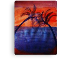 Palm tree Series #3 (darker  version), Over the Ocean, watercolor Canvas Print