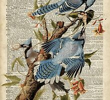 Blue Birds Over Old Dictionary Page by DictionaryArt
