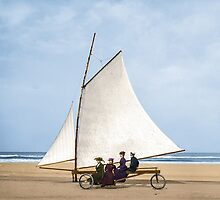 1910 : Sailing on the beach, Ormond, Florida by Marie-Lou Chatel