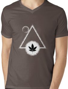 Black Marijuana leaf with the Sun and triangle Mens V-Neck T-Shirt