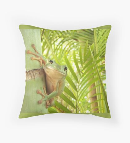 Frog Happy - Entices you to return his warm smile Throw Pillow