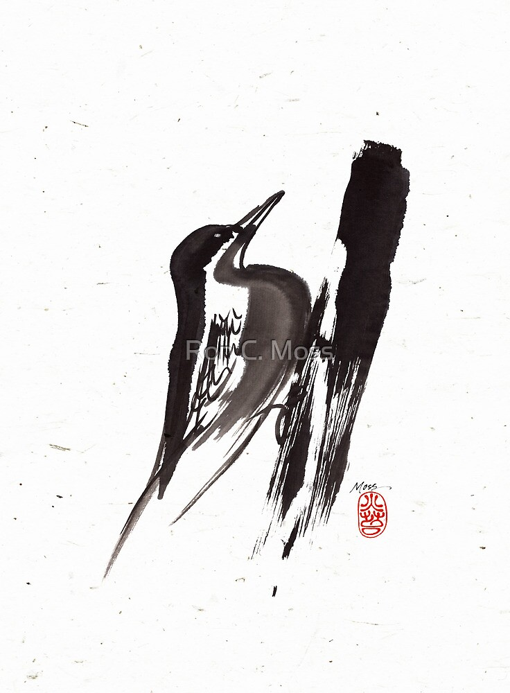 Nut Hatch Sumi-e by Ron C. Moss