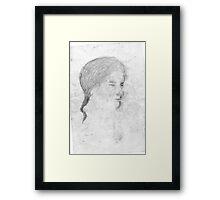 female head/drawn on bus -(240511)- pencil/A4 Framed Print