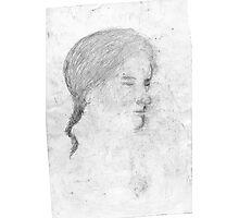 female head/drawn on bus -(240511)- pencil/A4 Photographic Print
