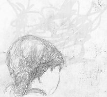 back of female head/seen on bus -(240511)- Pencil/A4 by paulramnora