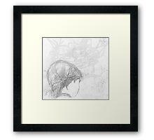 back of female head/seen on bus -(240511)- Pencil/A4 Framed Print