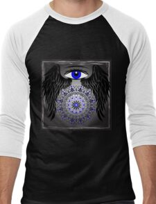 Blue Eye, Wings and mandala Men's Baseball ¾ T-Shirt