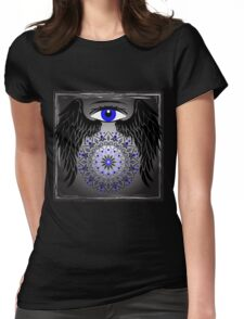 Blue Eye, Wings and mandala Womens Fitted T-Shirt