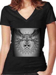 Human Skull, Owl and mandala Women's Fitted V-Neck T-Shirt