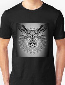 Human Skull, Owl and mandala T-Shirt