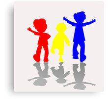 Colored kids silhouettes Canvas Print
