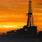 "Sunset Rig - the ""oil-oil painting"" by Trisha Lamoreaux"