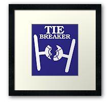 TIE BREAKER white Framed Print