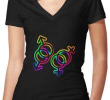 Six-stripe rainbow Venus and Mars symbol Women's Fitted V-Neck T-Shirt
