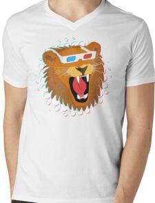 3D Lion Mens V-Neck T-Shirt