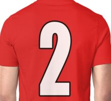 Football, Soccer, 2, Two, Second, Number Two, Sport, Team, Number, Red, Devils Unisex T-Shirt