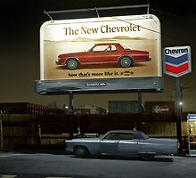 1977: Downsized New Chevrolet meets Old Cadillac circa 1977 in Medford, Mass. by Marie-Lou Chatel