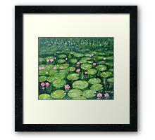Water lilies, green Framed Print