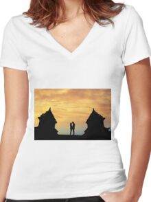 temple twin Women's Fitted V-Neck T-Shirt