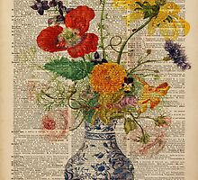 Bouquet of flowers over dictionary page by DictionaryArt